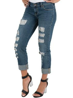 9b5f8d09ec1 Product Image S P Women s Stretch Denim Boyfriend Jeans Destroyed   Mended  Cuffed Hem Silver ...