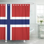 CYNLON Red Norwegian Norway Flag Blue Travel White Cross World Bathroom Decor Bath Shower Curtain 60x72 inch