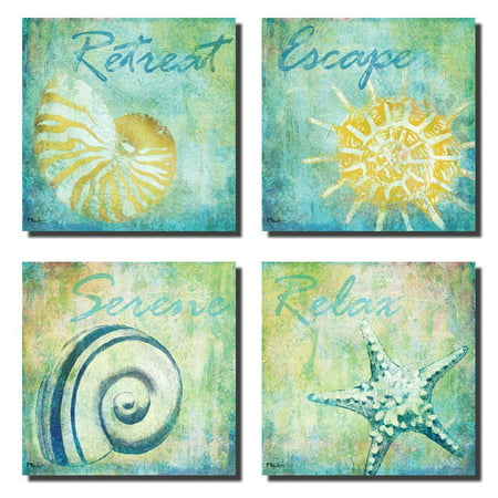 Cottage Retreat Poster (Retreat Escape Serene Relax Spa Shell Posters; Set of Four 12x12's. Teal/Blue/Yellow )