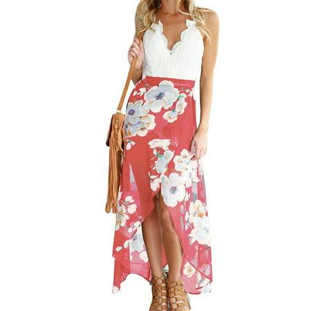 FANCYINN Women V-neck Lace Patchwork Irregular Hem Casual Chiffon Dress - Patchwork Chiffon Dress