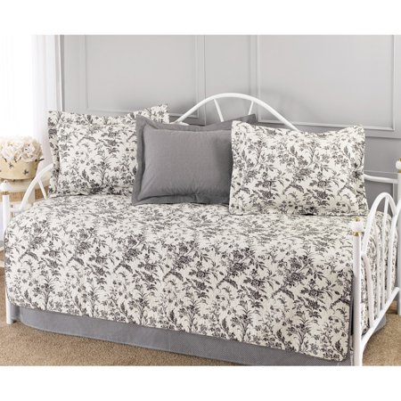 Laura Ashley  Amberley Black and White Floral 5-piece Quilted Daybed Set ()