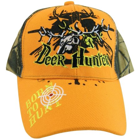 Deer Hunter Born to Hunt Adjustable Baseball Cap (Orange)