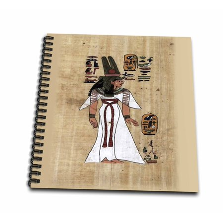 Egyptian Cartouche Papyrus Painting (3dRose Image of Ancient Painting Of Egyptian Princess On Papyrus Paper - Mini Notepad, 4 by 4-inch)