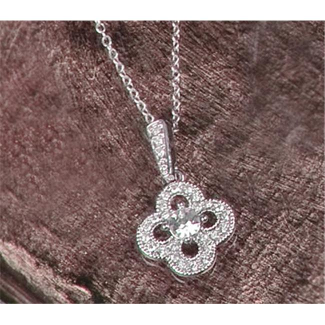 56-2215-SLV Wedding Jewelry - Crystal Clover Necklace Pendant - Silver