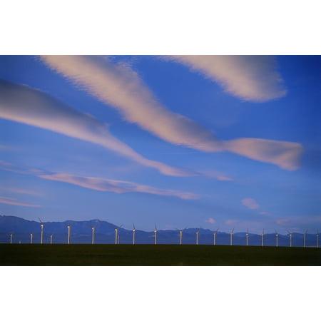 - Wind Turbines Pincher Creek Alberta Stretched Canvas - Mike Grandmaison  Design Pics (18 x 11)
