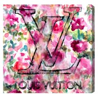 Runway Avenue Floral and Botanical Wall Art Canvas Prints 'LV Garden' Florals - Pink, Green