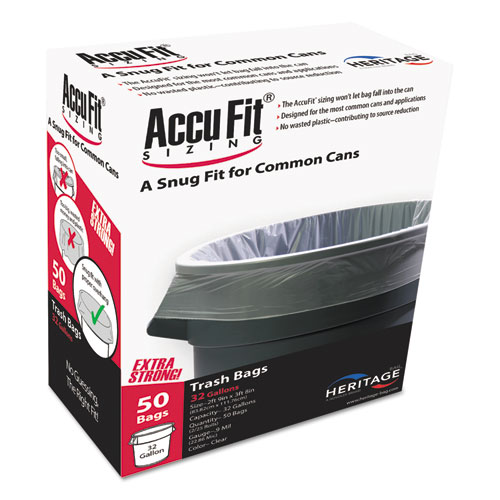 "AccuFit Can Liners, 55gal, 0.9mil, Clear, 40"" x 53"", 50/Box"