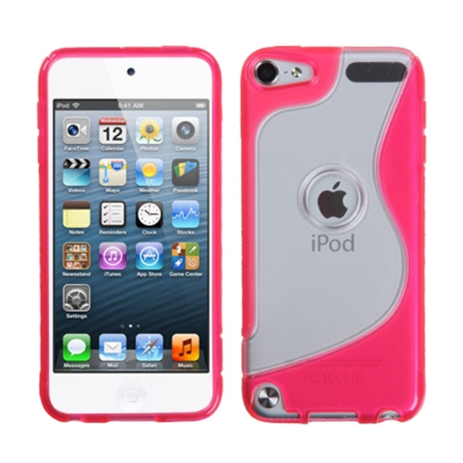 Insten Transparent Clear/Hot Pink (S Shape) Gummy Cover Case for APPLE: iPod touch (5th 6th Gen)