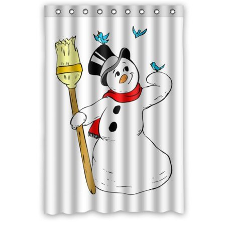 GreenDecor Funny Christmas Gift Best Cool Merry Christmas Happy Snowman Waterproof Shower Curtain Set with Hooks Bathroom Accessories Size 48x72