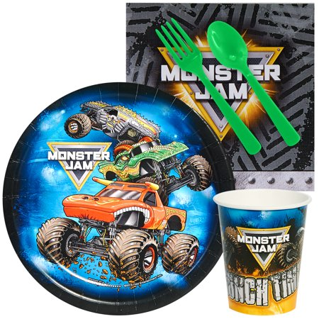 Monster Jam Party Supplies - Snack Party Pack for 8 (Monster Jam Birthday Party Supplies)