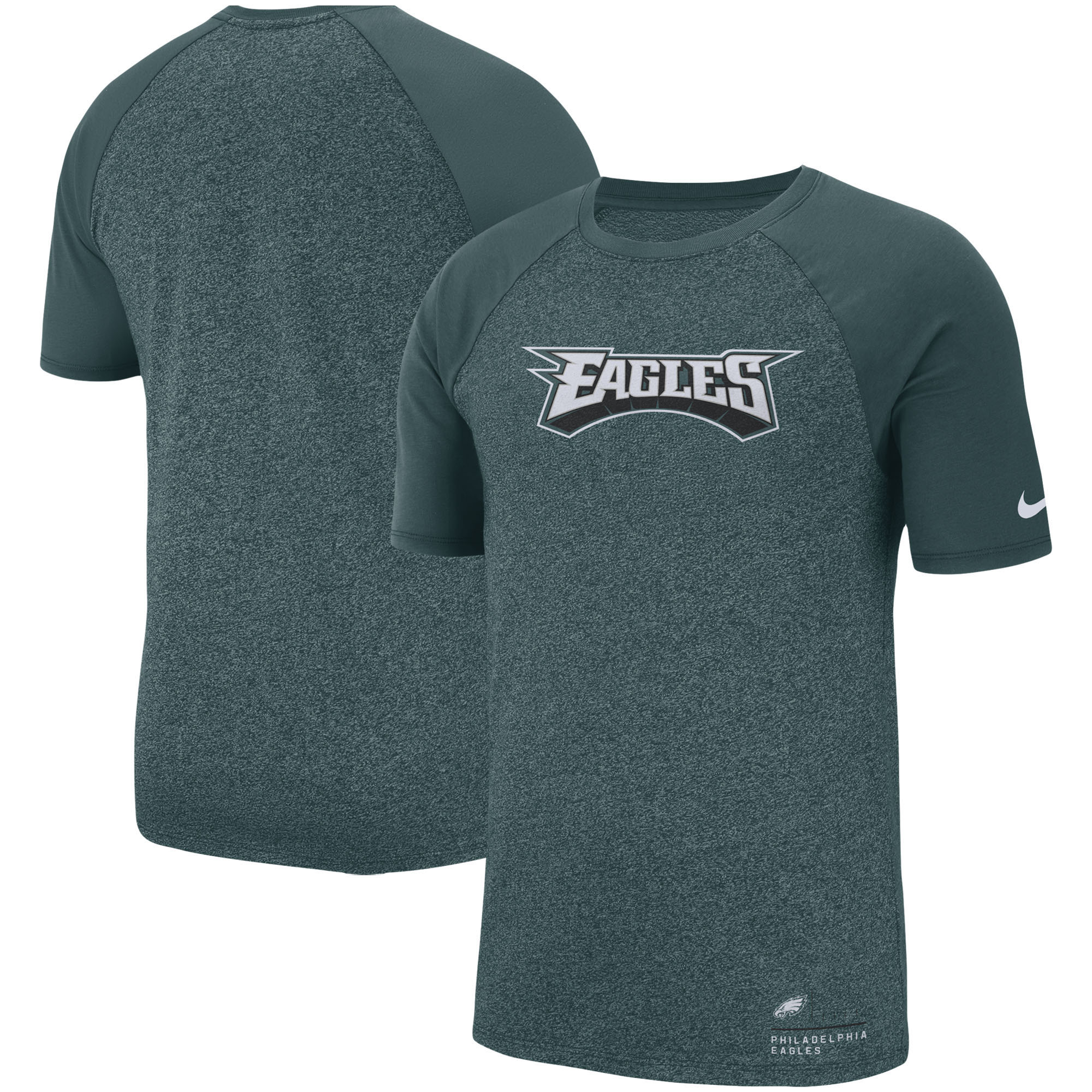 Philadelphia Eagles Nike Fan Gear Marled Raglan T-Shirt - Heathered Midnight Green