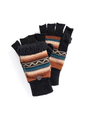 Muk Luks 0034041220-OS Mens Fingerless Flip Mittens Gloves, Copper & Geo - One Size