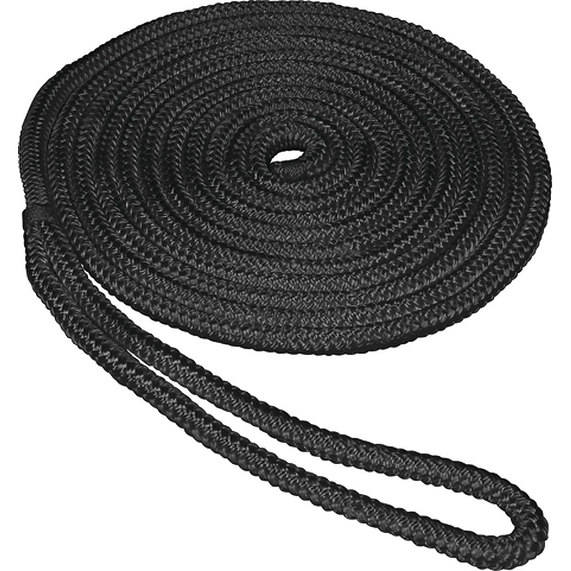 "Click here to buy SeaSense Double Braid Nylon Dock Line, 3 8"" x 25', 10"" Eye, Black by Generic."