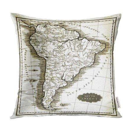 Brazil Antique Map (ECCOT Amazon 1799 Antique Map of South America Patagonia Brazil Pillow Case Pillow Cover 18x18 inch )