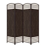"""ORE 4 Panel Straw Weave Room Divider, 66.75"""" Tall"""
