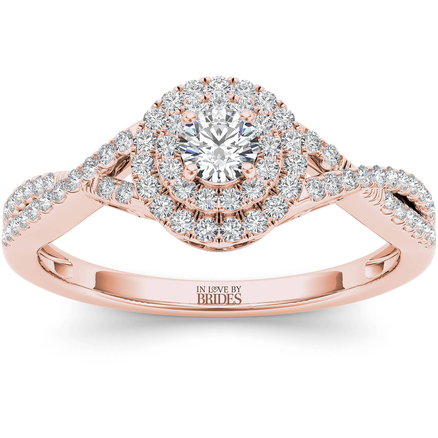 IN LOVE BY BRIDES 3/8 Carat T.W. Certified Diamond Twisted Shank Double Halo 14kt Pink Gold Engagement Ring