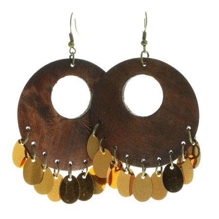 Dark Wooden Disc Shaped Dangle Earrings With Metallic Drop Accents