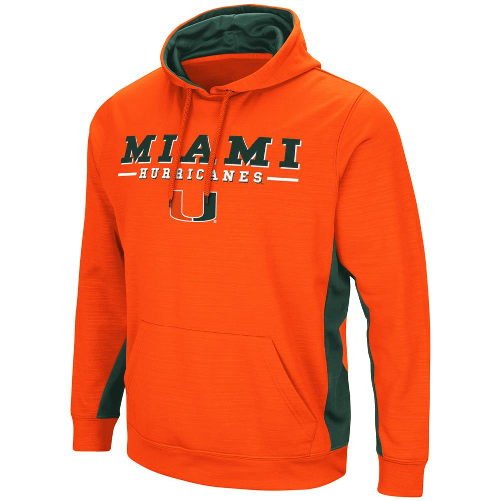 University of Miami Hurricanes Hoodie Performance Fleece Pullover Jacket by Colosseum