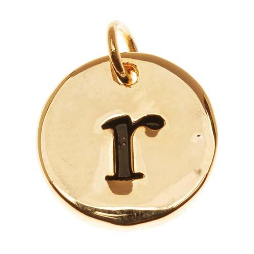 Lead-Free Pewter, Round Alphabet Charm Lowercase Letter 'r' 13mm, 1 Piece, Gold Plated