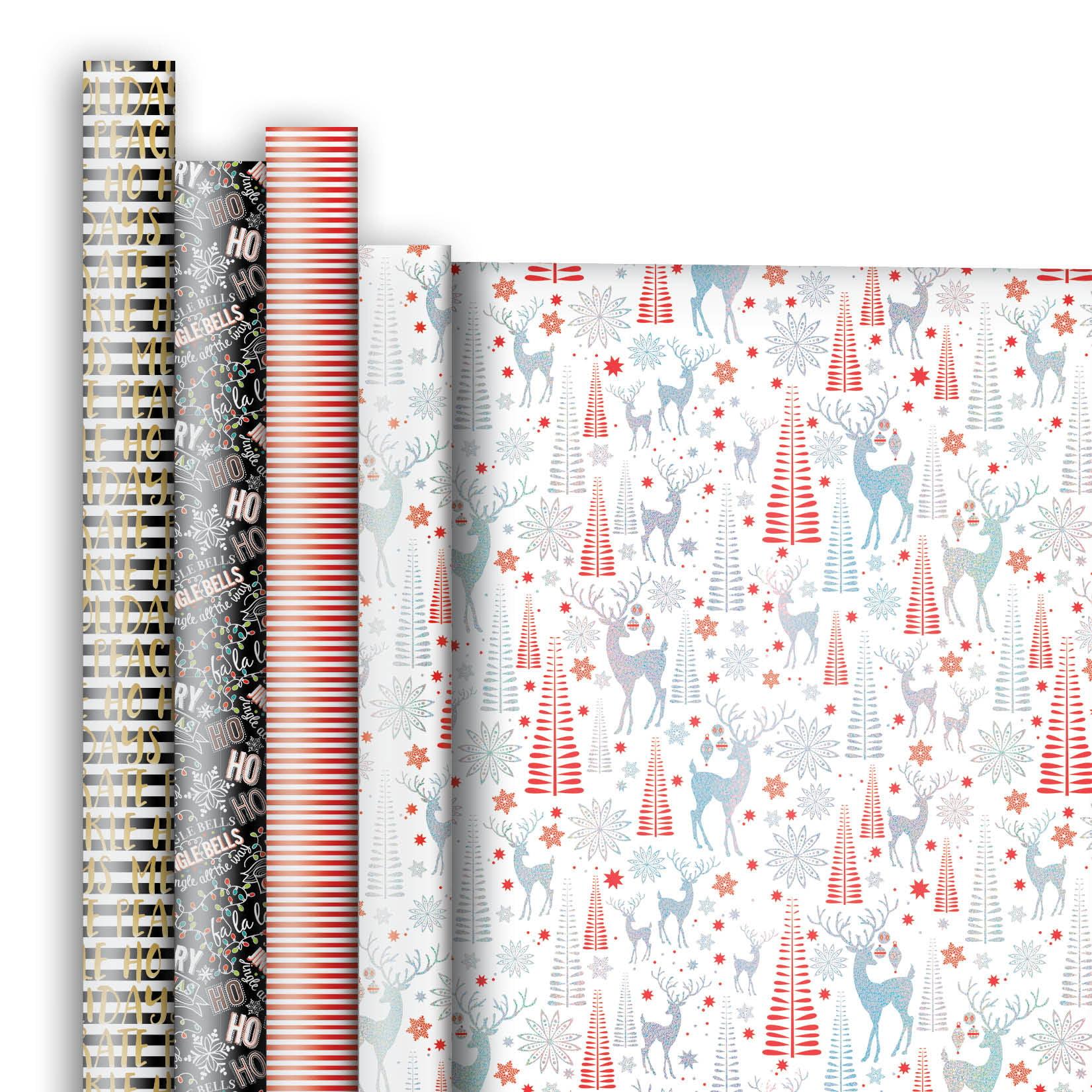 Jillson & Roberts Premium Gift Wrap Jumbo Roll Assortment, Christmas Designs (4 Rolls)