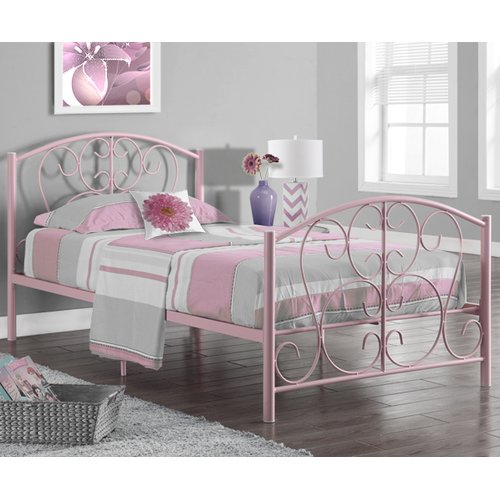 Monarch Bed Twin Size / Pink Metal Frame Only