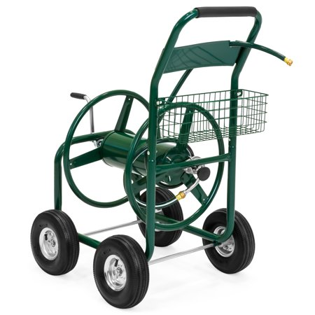 Best Choice Products 300' Water Hose Reel Cart w/ Basket - (Best Hose Reel Cart)