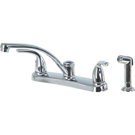 Home Impressions Double Metal Lever Handle Kitchen Faucet With Side Sprayer Double Lever Faucet