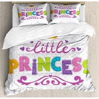 "Teen Girls Duvet Cover Set, ""Little Princess"" Lettering on Polka Dot Background Cheerful Illustration, Decorative Bedding Set with Pillow Shams, Fuchsia Green, by Ambesonne"