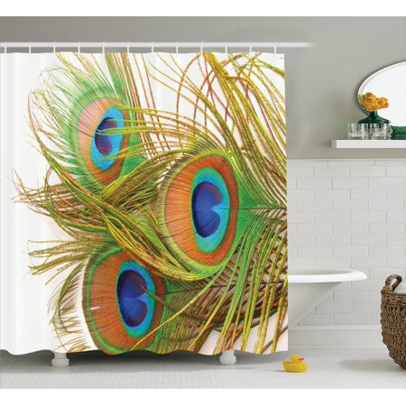Peacock Decor Shower Curtain Set, Peacock Feathers Modern Spring Leaves Forest Trees Classic Plumage Artwork, Bathroom Accessories, 69W X 70L Inches, By Ambesonne](Peacock Accessories)