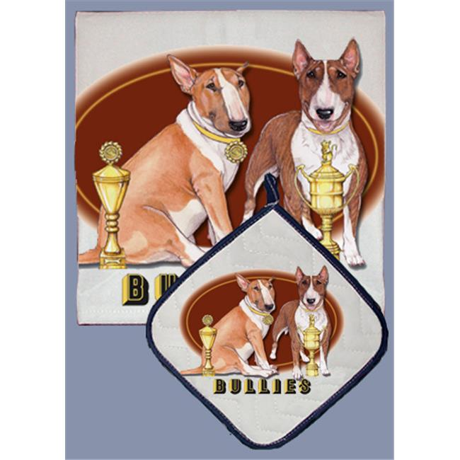 Pipsqueak Productions DP985 Dish Towel and Pot Holder Set - Bull Terrier