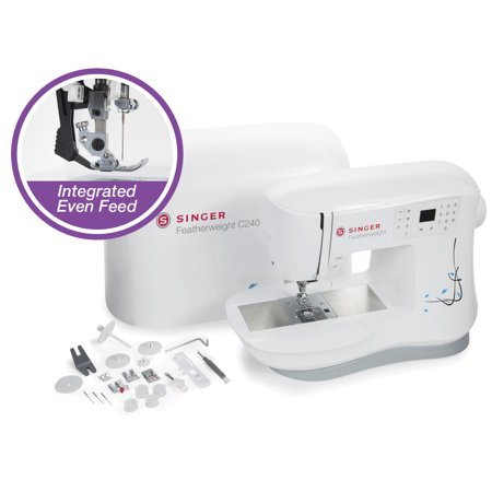 - SINGER Featherweight C240 Feature-Rich Portable Sewing Machine with IEF System, 70 built-in stitches, heavy duty metal frame, easy touch stitch selection and more