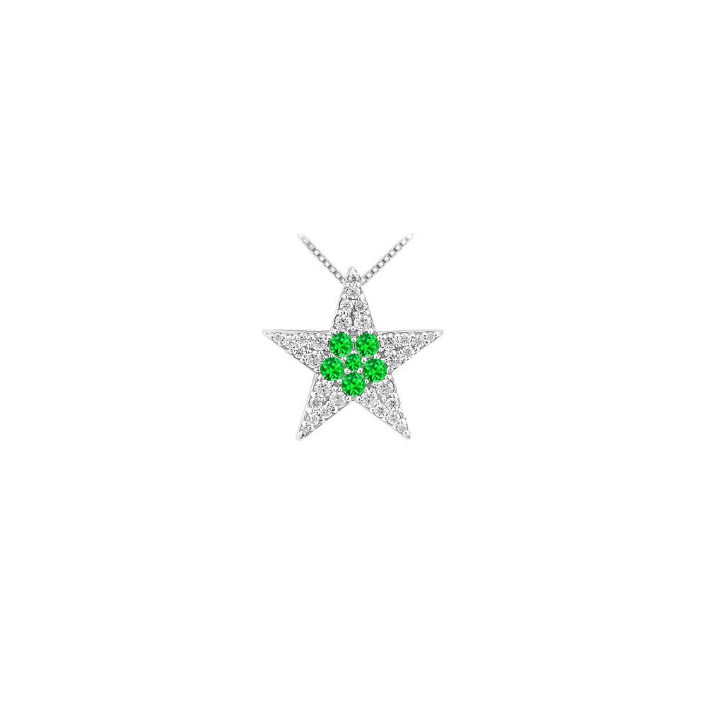 1 carat Cubic Zirconia with Created Emerald Star Pendant in Rhodium Treated 925 Sterling silver - image 2 of 2
