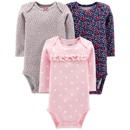 Child Of Mine By Carter's Long Sleeve Bodysuits, 3-pack (Baby Girls) - Clearance Baby