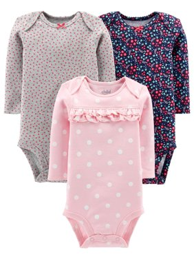 Child Of Mine By Carter's Long Sleeve Bodysuits, 3-pack (Baby Girls)