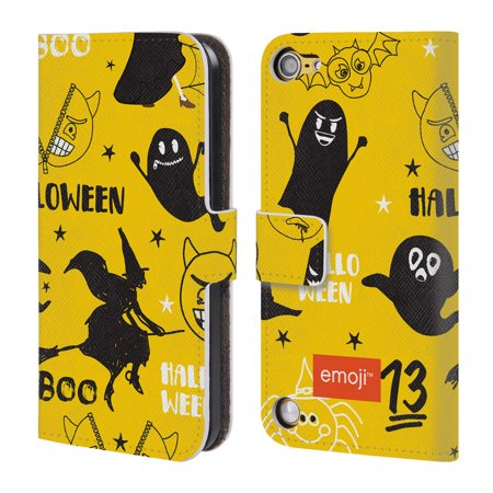 OFFICIAL EMOJI HALLOWEEN PATTERNS LEATHER BOOK WALLET CASE COVER FOR APPLE IPOD TOUCH MP3 (Efectos Especiales Halloween Mp3)