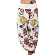 Womens Yoga Floral Loose Elastic Waist Harem Pants