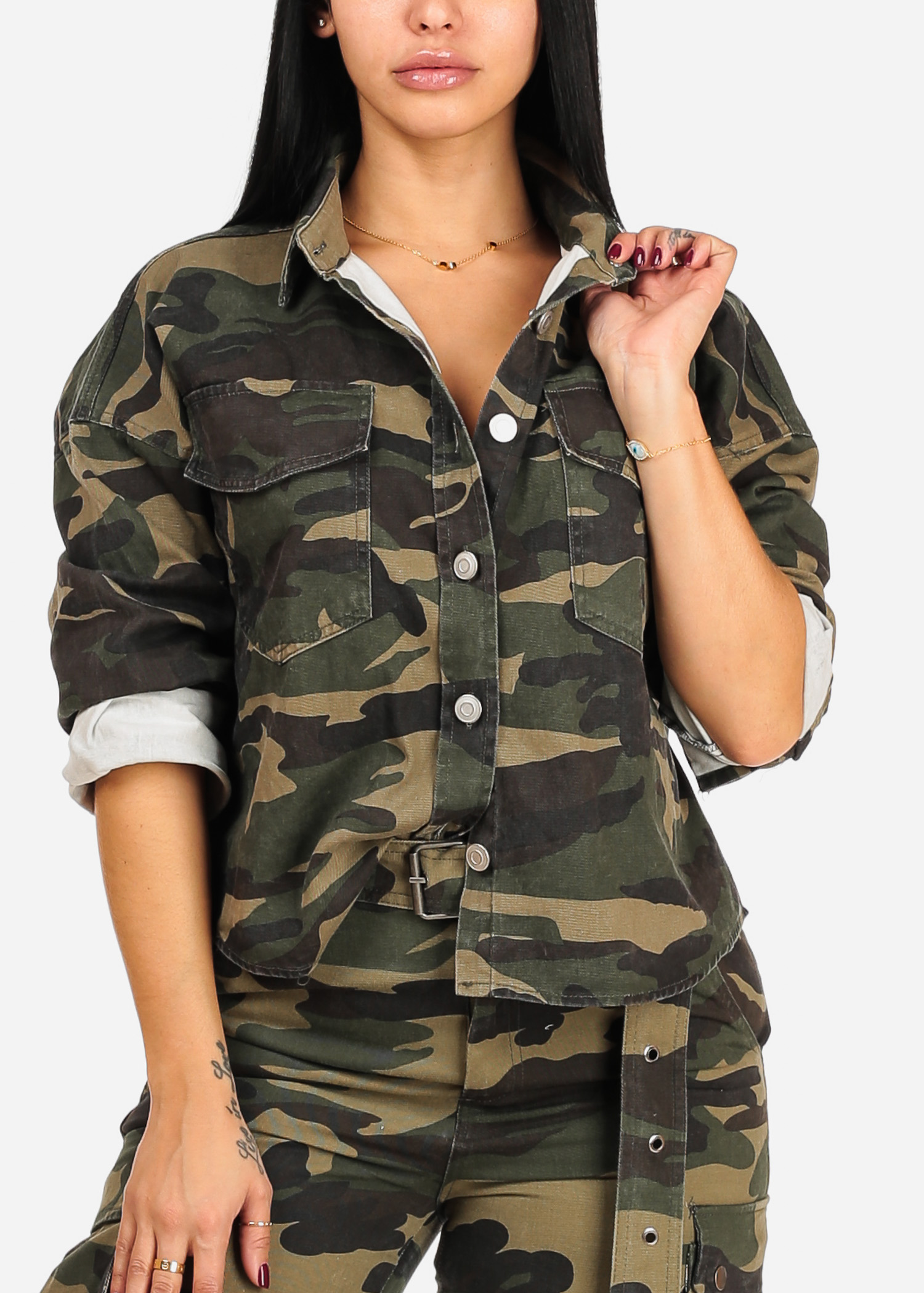 Womens Juniors Casual Roll Up Long Sleeve Button Up Camouflage Army Print Green Jacket 40009T