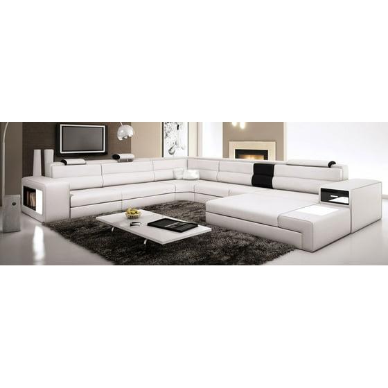 Modern Italian Design Sectional Sofa Divani Casa Polaris - Ivory with Black  Insert