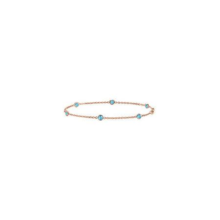 Bracelet Link Swiss Blue Topaz 0.60 CT in 14K Rose Gold 7 Inch Length - image 4 of 4