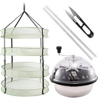 iPower 16-Inch Leaf Bowl Trimmer Twisted Spin Cut for Plant Bud and 2 Feet Diameter with 4 Layers Clip on Hanging Herb Drying Rack Net
