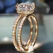 14 K Gold Double-Layer Square Diamond Princess Ring
