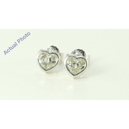 18k White Gold Pear Cut Invisible setting Diamond Heart Earrings (0.46 Ct, H Color, vs2 Clarity)
