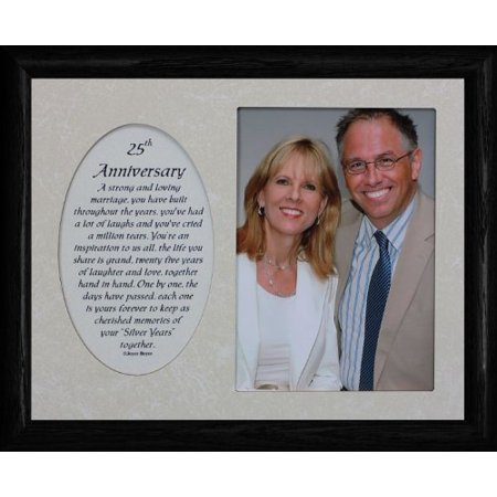 8X10 25th Anniversary ~ Photo & Poetry Frame ~ Holds A Portrait 5X7 Picture (25th Anniversary Frame)
