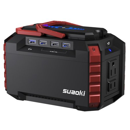 SUAOKI Portable Power Station 150Wh Quiet Gas Free Solar Generator QC3.0 UPS Lithium Power Supply with Dual 110V AC Outlet, 4 DC Ports, 4 USB Ports, LED Flashlights for Camping Travel CPAP