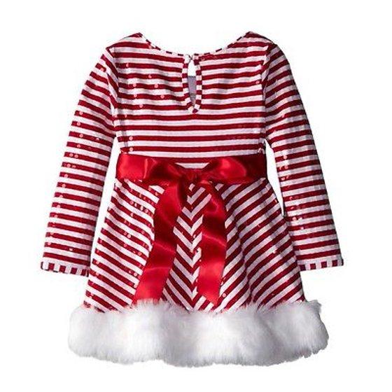 Bonnie Jean Bonnie Jean Girls Stripe Santa Christmas