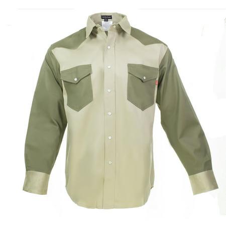 Flame Resistant FR Shirt – 88/12 Cotton Nylon blend – 7 oz twill - Western Style - 2 tone