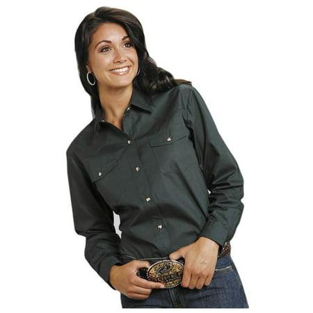 - Roper Western Shirt Womens L/S Solid Poplin Green 03-050-0265-1068 GR