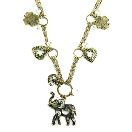 Elephant Heart Cloves Key Crystal Charms Long (Elephant Heart)