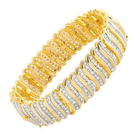 2 ct Diamond 'S' Link Tennis Bracelet in 18kt Gold-Plated Brass Diamond Rolo Link Bracelet