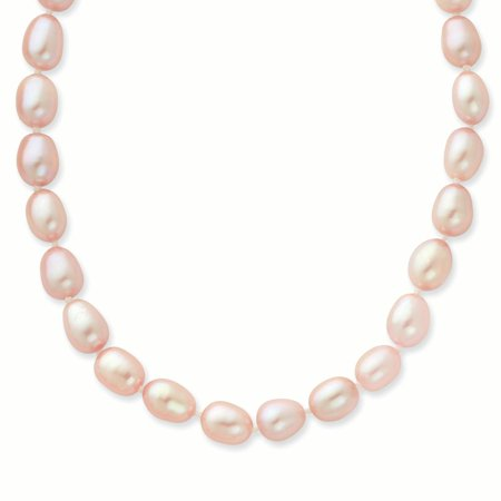14K 7 8Mm Pink Rice Shape Fw Cultured Pearl Necklace